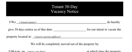 12 30 day notice to landlord sample 30 day notice letter from – Notice to Vacate Letter